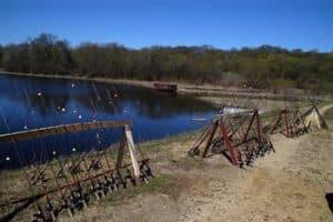 Fishing rod racks at the lake