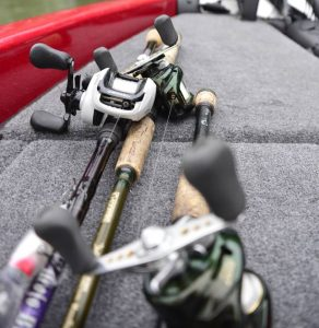 Fishing rods in a boat close up