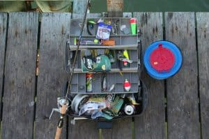 Tackle box on a dock