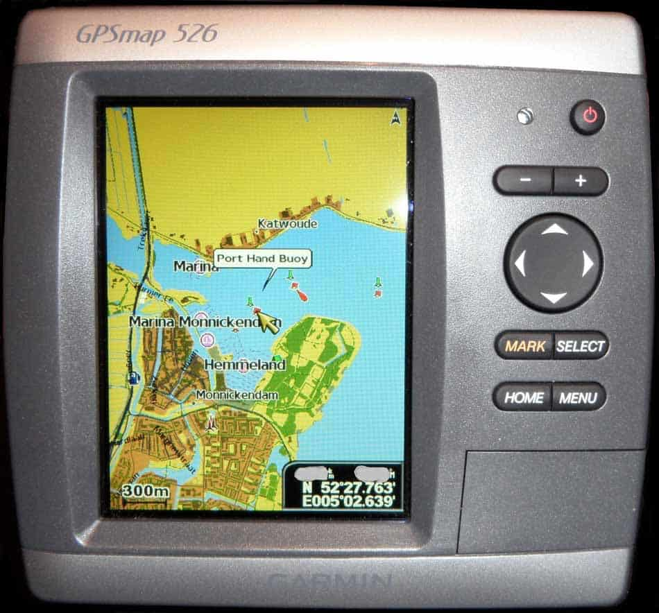 Older fish finder with lake picture