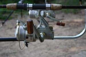 Close up of metal fishing reel