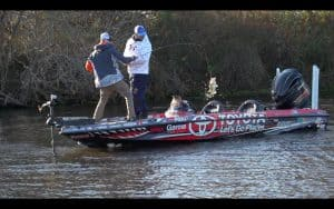 Person pulling bass into bass boat
