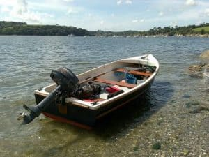Fishing boat beached at the lake