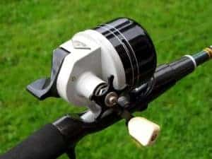 White and black spincast reel