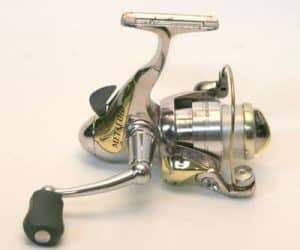 Silver and gold spinning reel