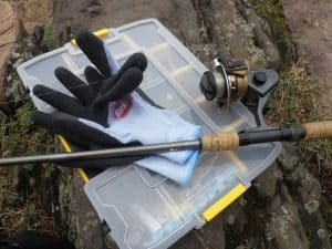 Tackle box and gloves