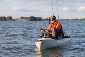 Kayak fishing on a lake