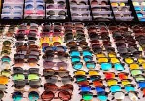 Display of sunglasses