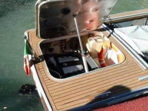 Exposed motor on fishing boat
