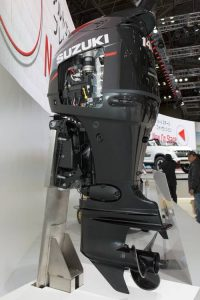 Black fishing boat motor