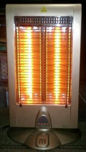 Electric heater glowing