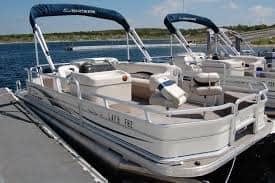 Pontoon boat docked