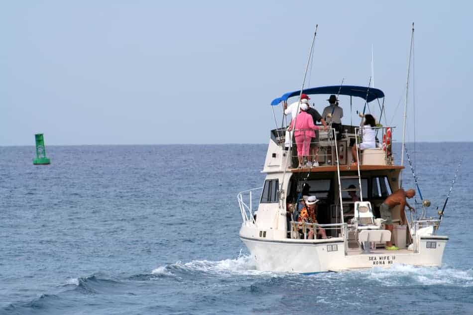 people on a deep sea fishing charter