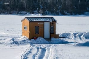 ice shelter out on lake